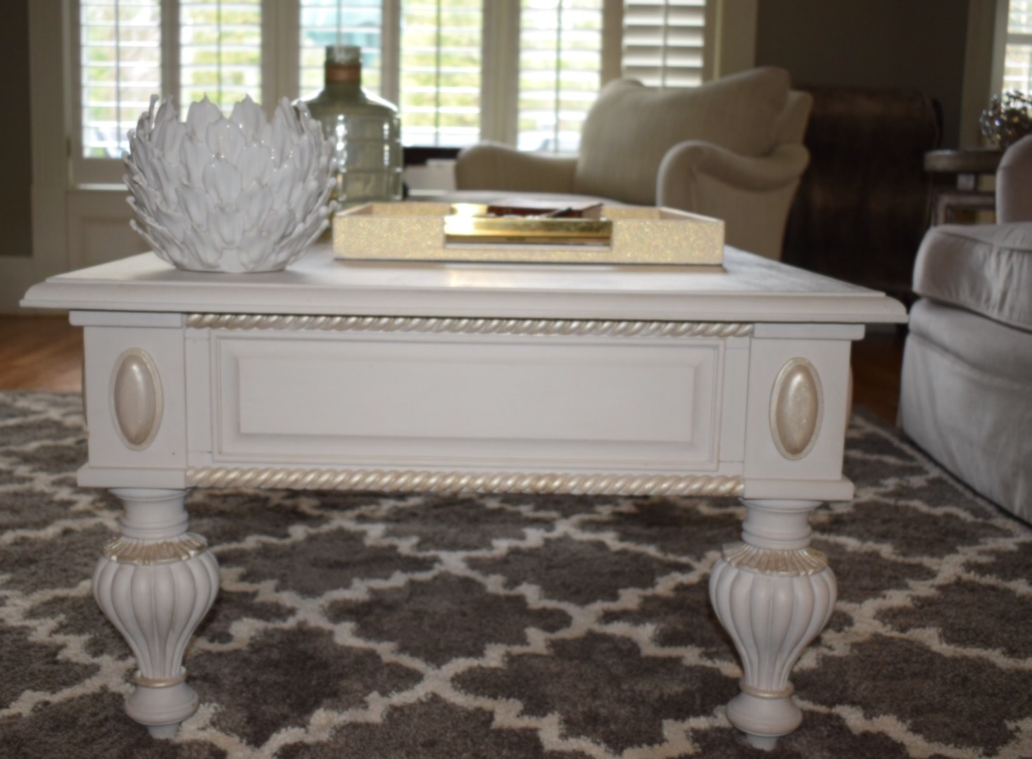 Coffee Table Decor In The Living Room   The Chalk Paint Totally Transformed  This Piece And