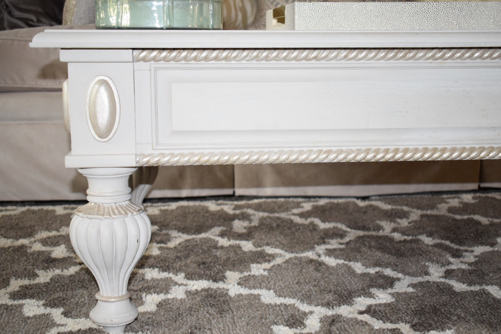 How to rehab old furniture using chalk paint crockpot empire the details of the coffee table using chalk paint to transform and the metallic gold paint geotapseo Images