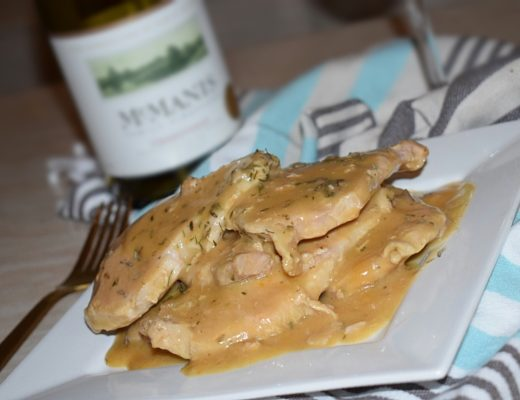 Crockpot ranch pork chops with McManis Chardonnay