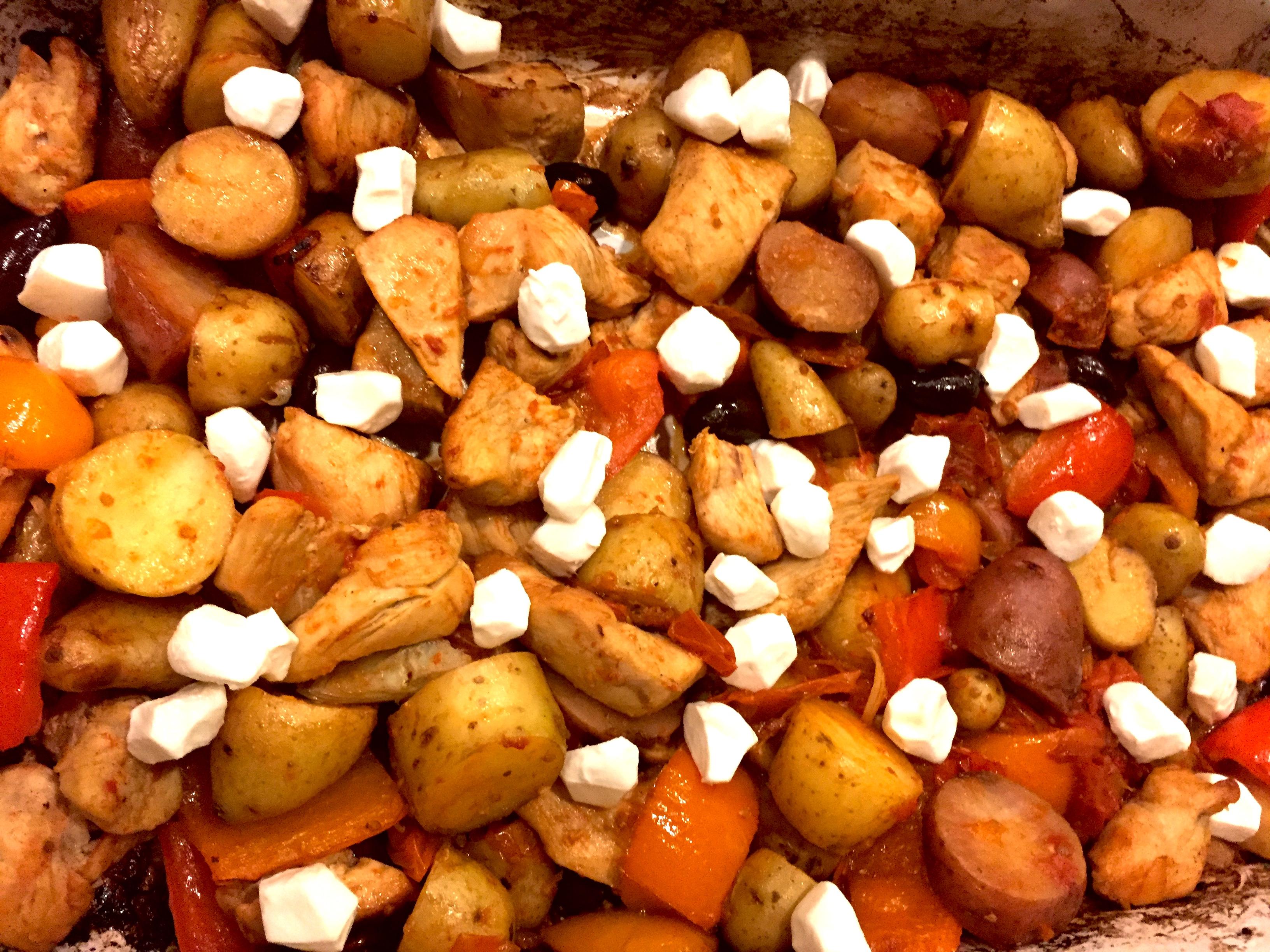Mediterranean Bake-Ingredients-Tomatoes-onions-olive oil-Crockpot Empire