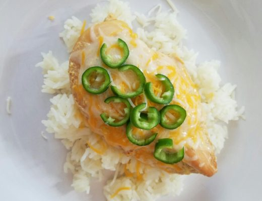 Honey and jalapeno crockpot chicken over white rice
