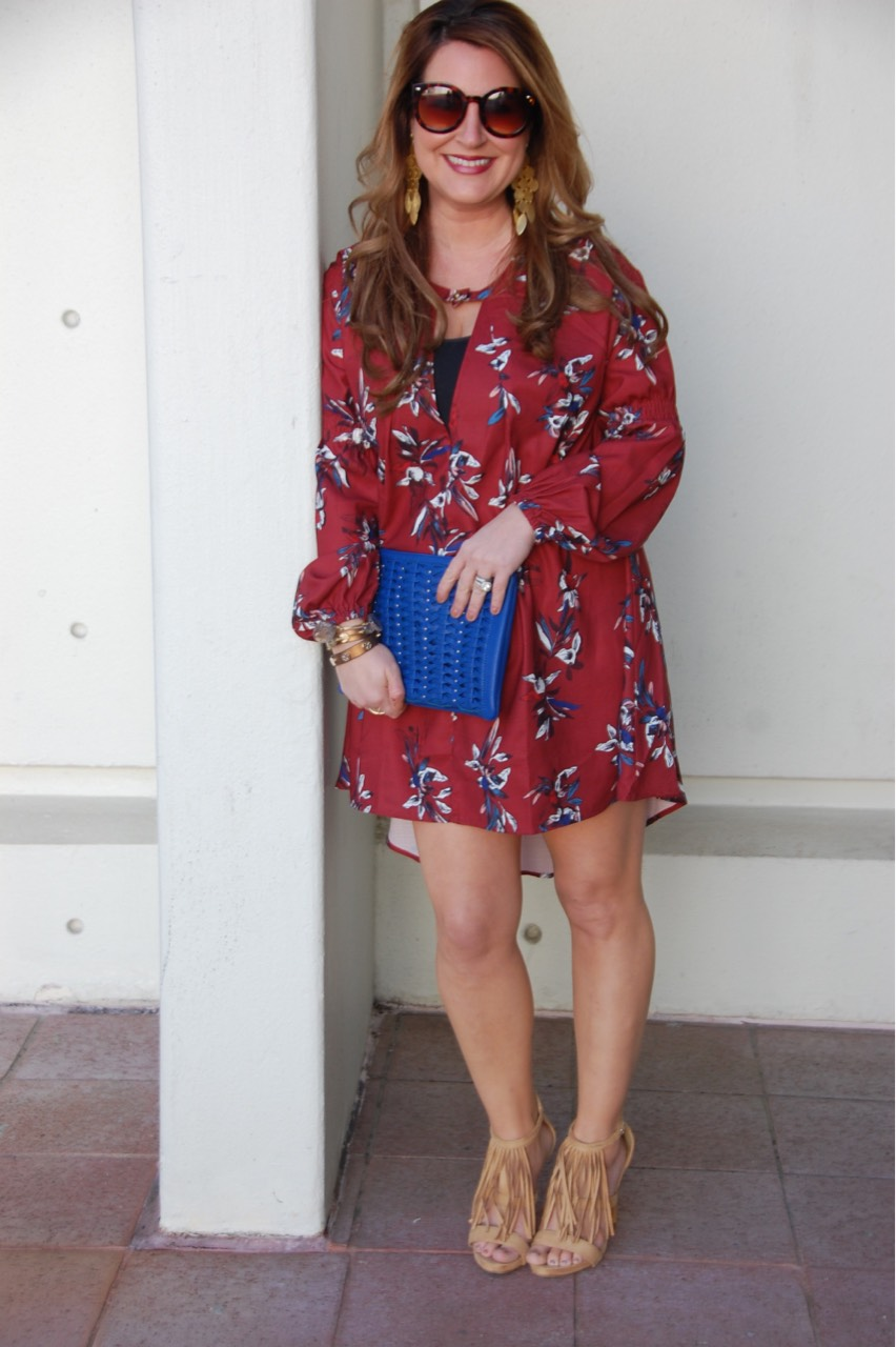 Shein Wine Red Long Sleeve Floral Dress b38ee3996