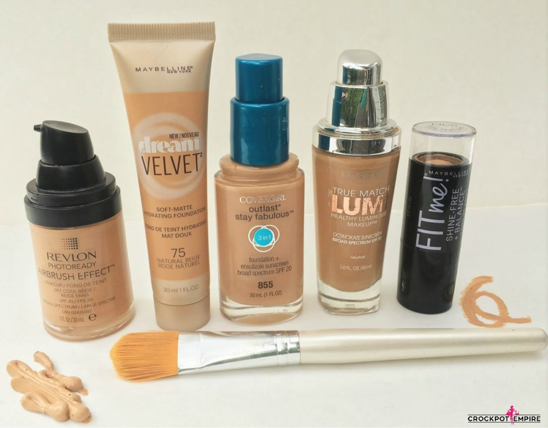 Some of my favorite drugstore foundations including Maybelline Velvet and Fit Me, Covergirl, Loreal Lumi and Revlon Photoready