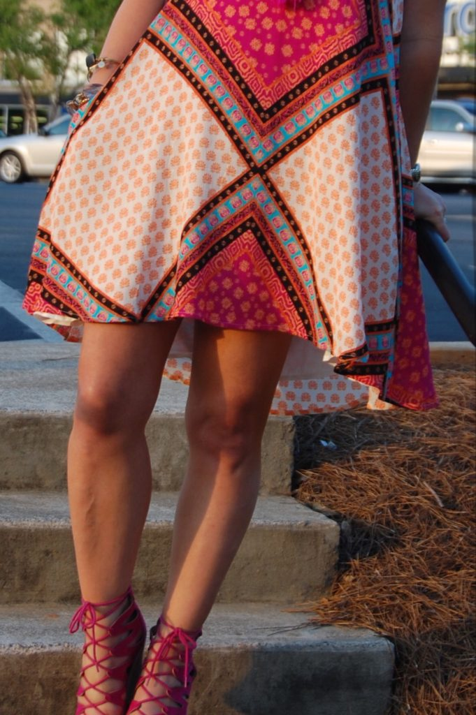 Fuschia Lace up heels paired with Minkpink African Trance dress