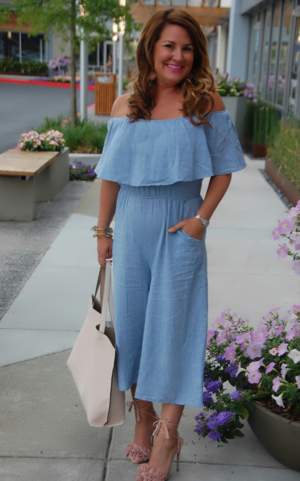 b227c8aafef1 Off-the-Shoulder Chambray Jumpsuit