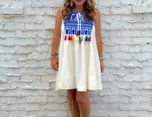 Kim Bishop on Crockpot Empire is wearing the cutest and vibrant tassel sundress from Sheinside on Crockpot Empire