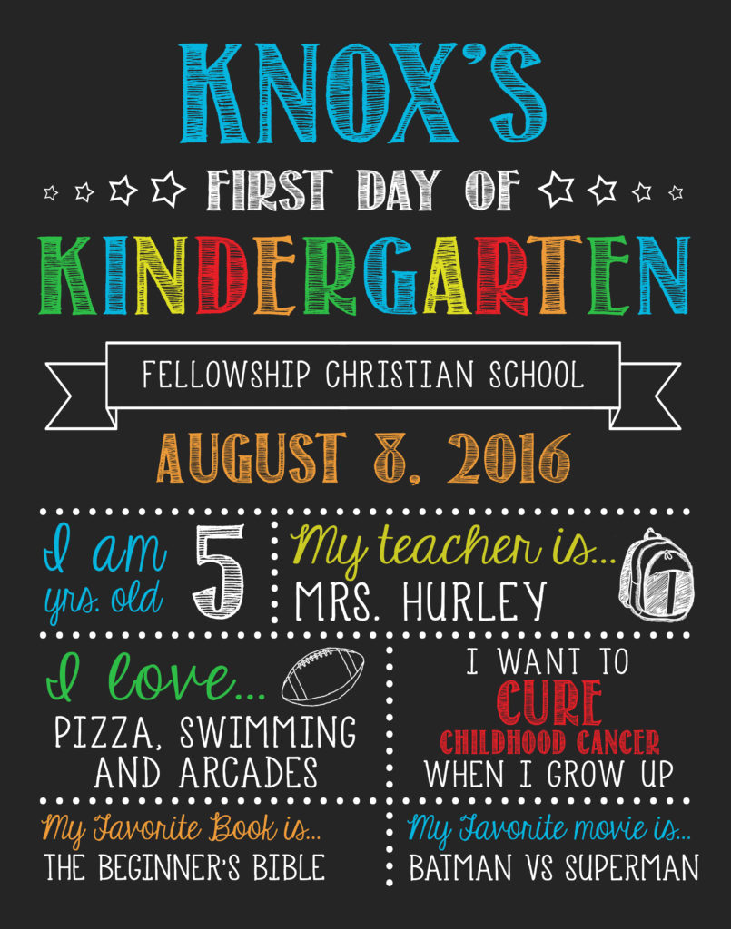 First Day of School Sign from Etsy Kindergarten