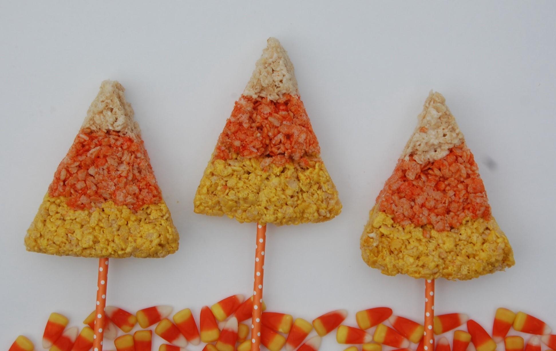 Candy Corn Rice Krispie Treats on a stick