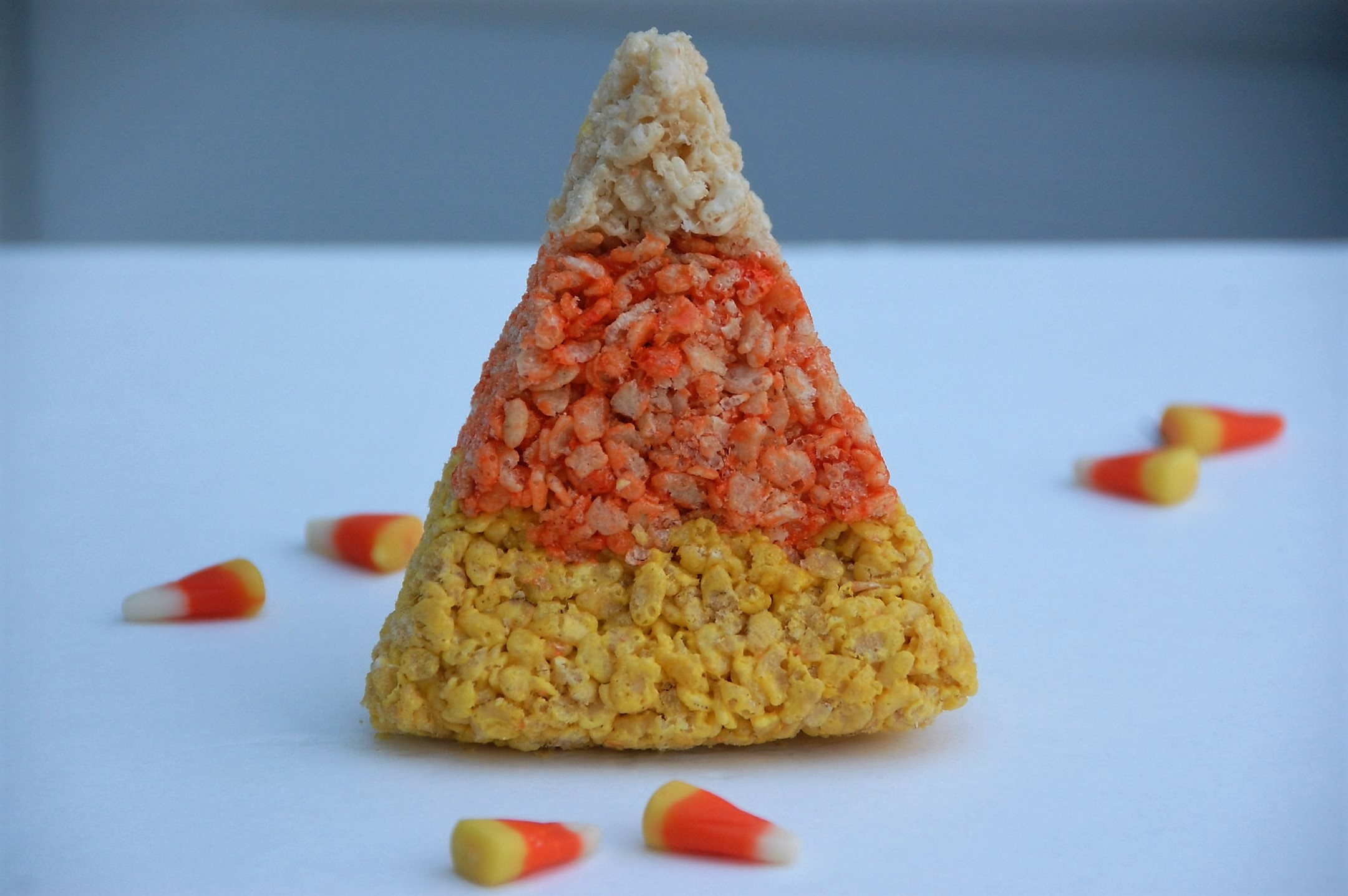 These Rice Krispies Treats that look like candy corns are the perfect fall and Halloween treat for your kids