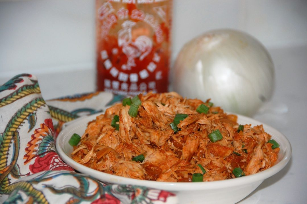 Crockpot Sriracha Chicken with only five ingredients is the perfect healthy dinner or meal prep