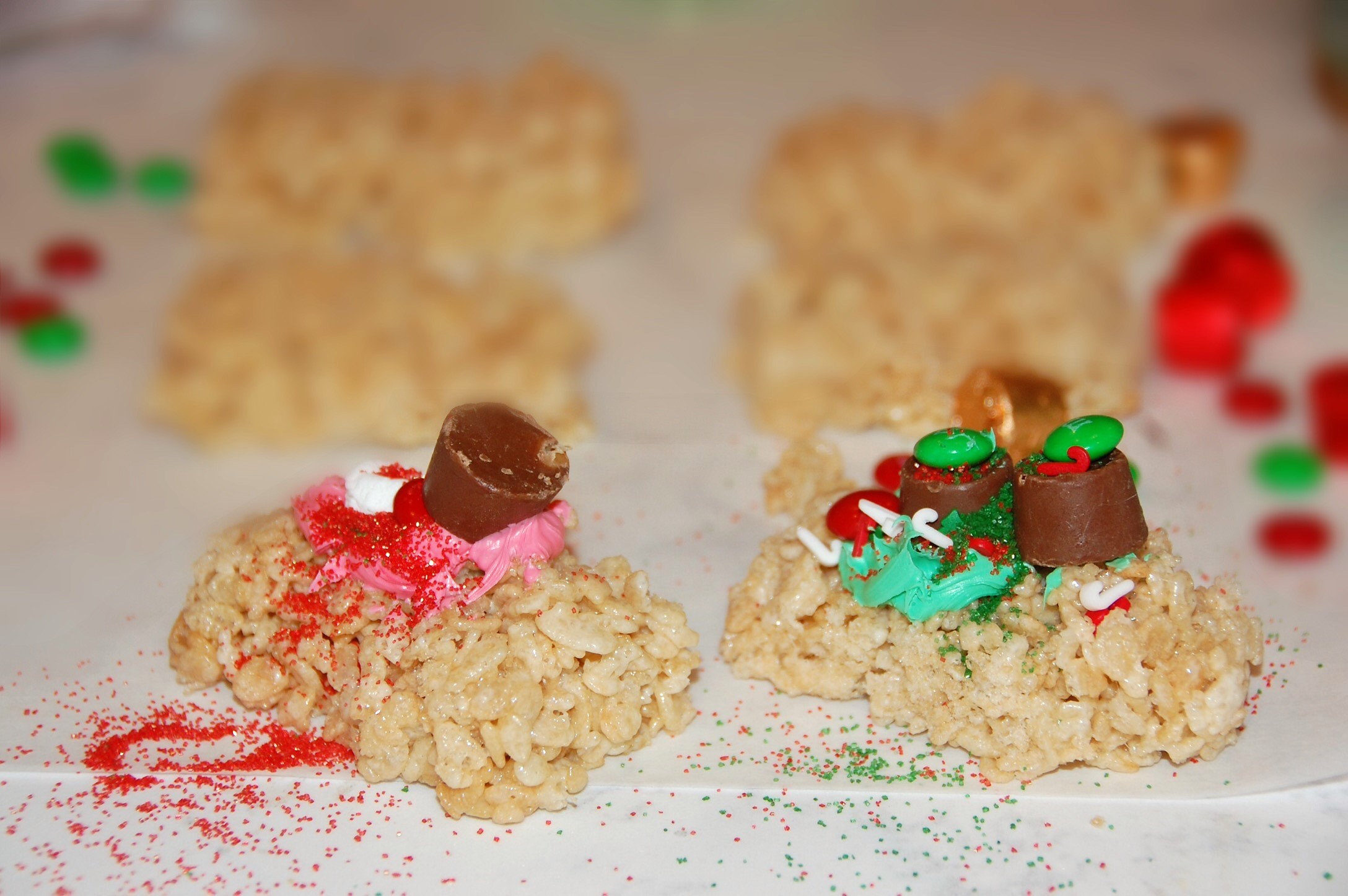 Holiday Rice Krispies Treats made by kids