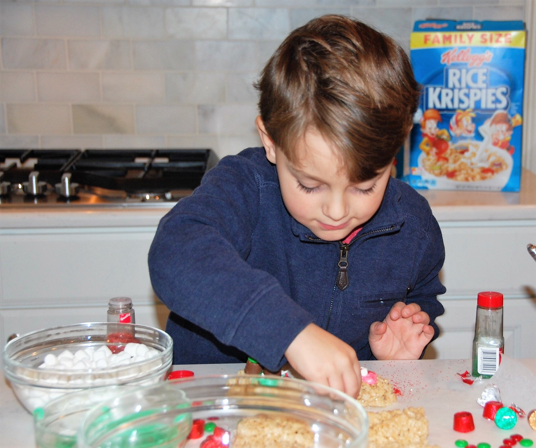 Knox Bishop making Rice Krispies Treats