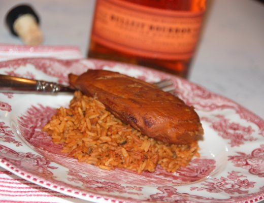 Crockpot Bourbon Chicken with Bulleit Bourbon Whiskey and Zattarain's Bourbon Chicken Rice by Crockpot Empire