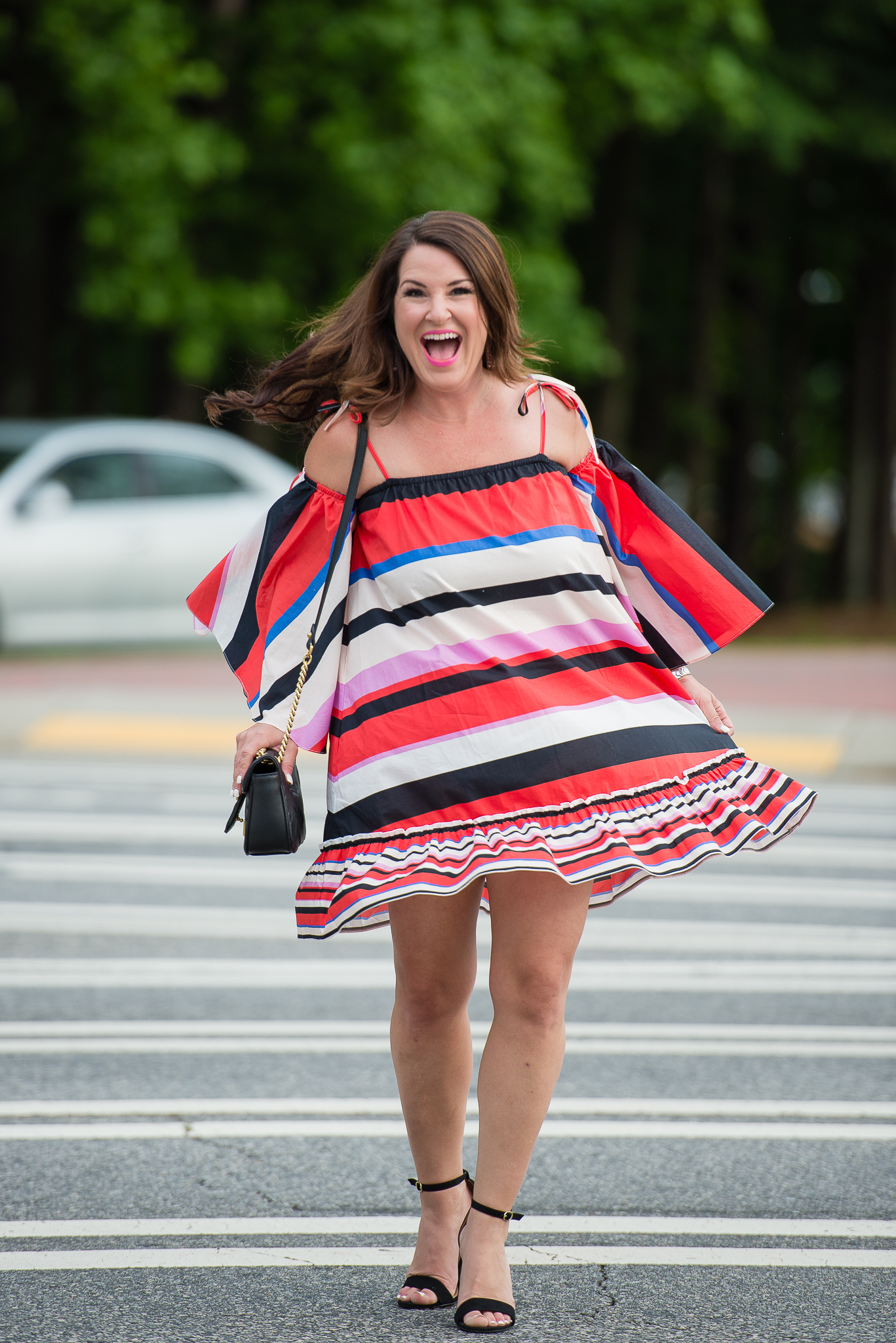 Nicholas Amalfi Stripe Cold-Shoulder dress for Cinco de Mayo