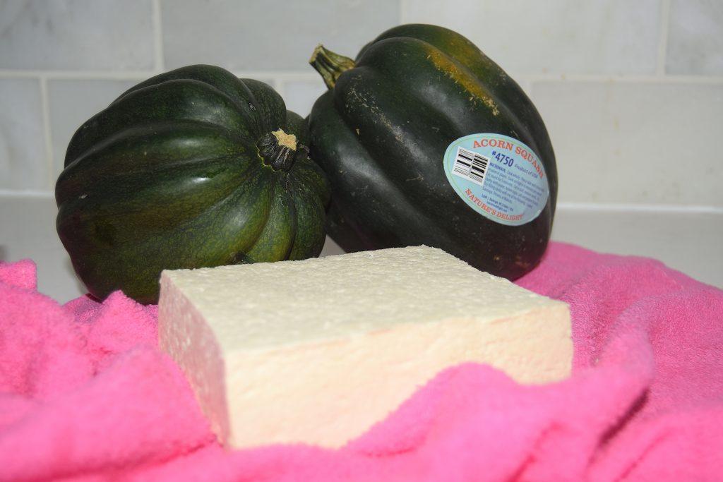crispy tofu stuffed sweet spicy acorn squash
