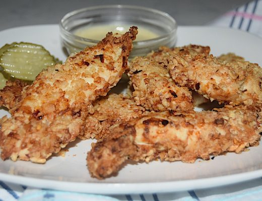 Healthy Crispy Chicken with Sweet Mustard Dip