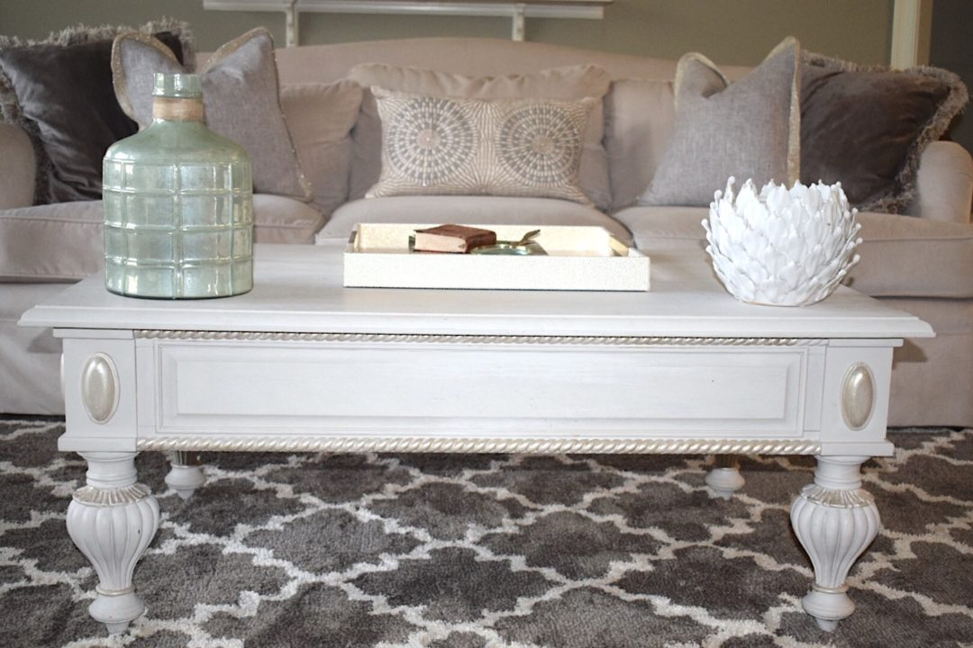 Coffee Table decor in the living room - the chalk paint totally transformed this piece and lightened up the room