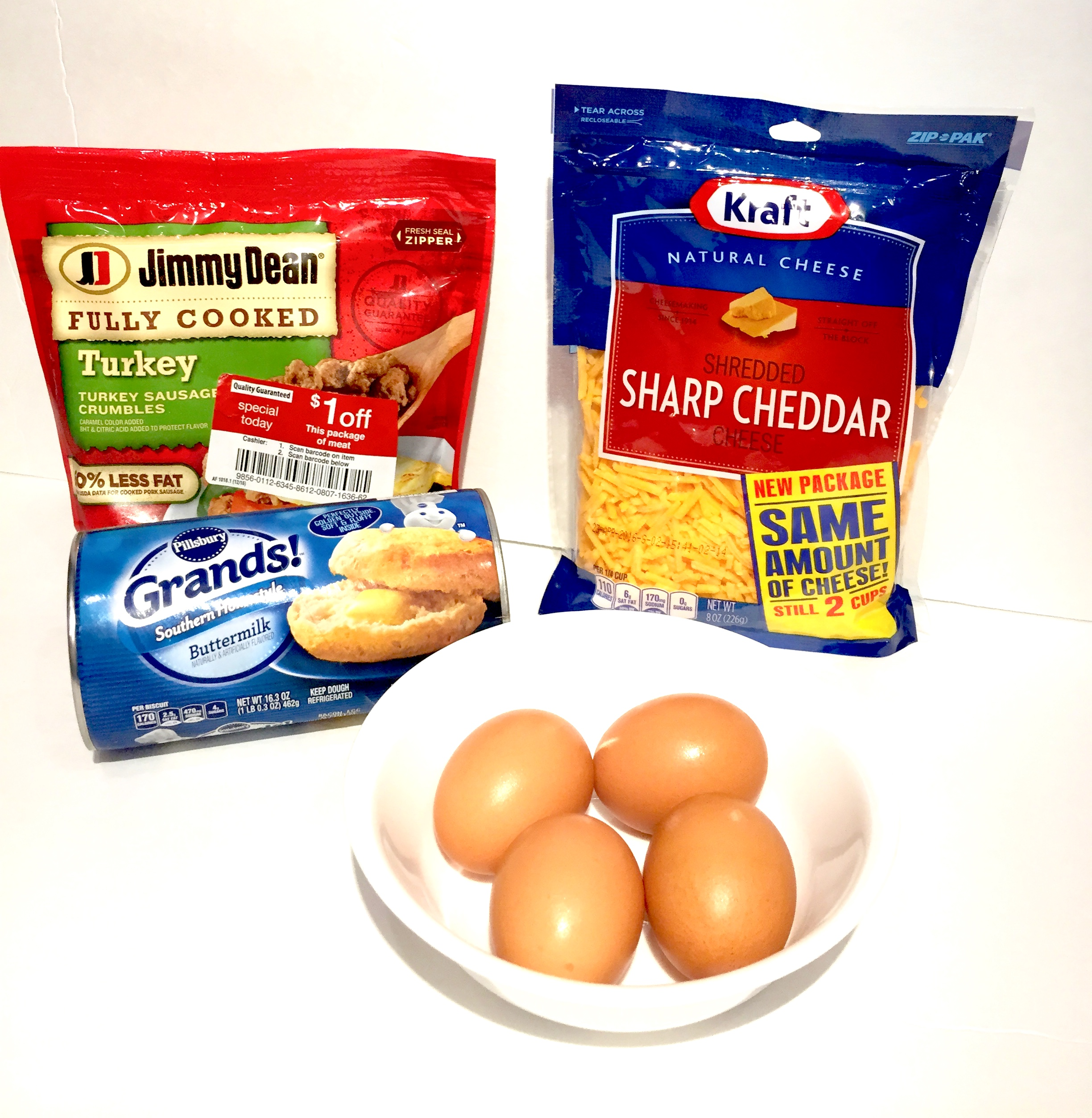 Ingredients-Christmas Morning Casserole-Eggs-Cheese-Sausage-Biscuits-Recipes-Kate Swain