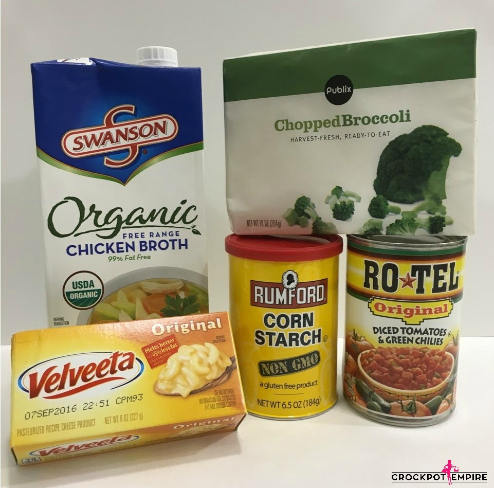 Broccoli Cheese Soup - Crockpot Empire - Organic Chicken Broth - RoTel - Velveeta - Rumford Corn Starch
