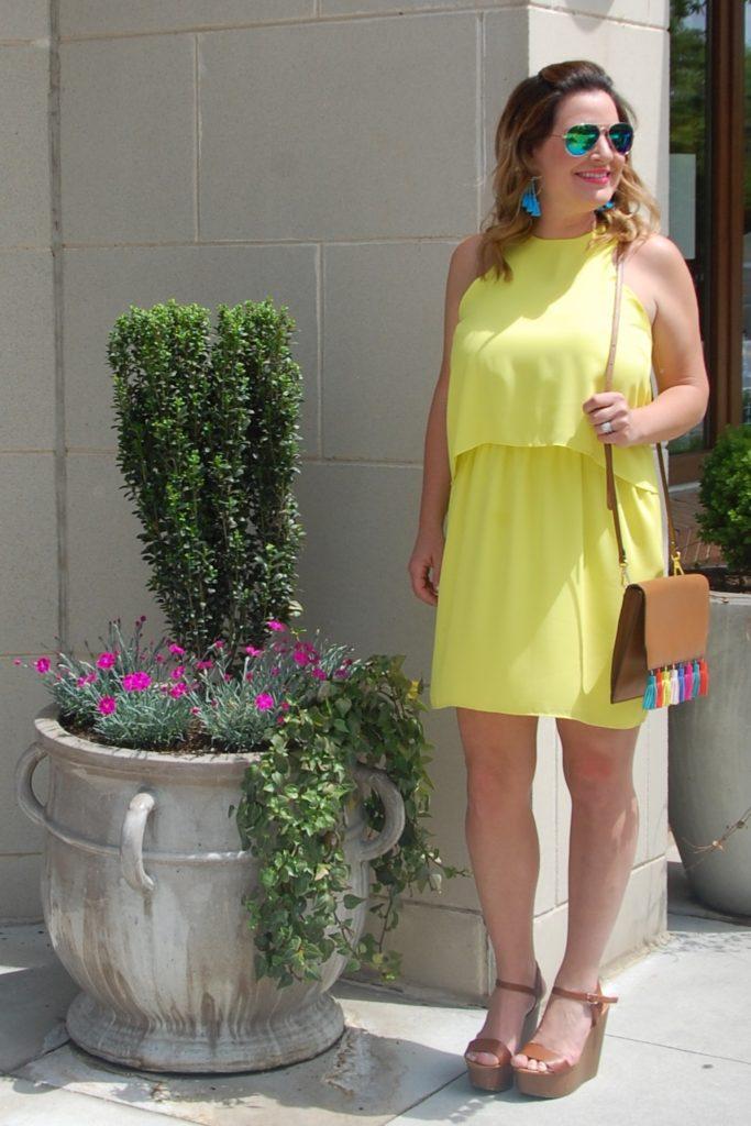 Macy's Bar III Yellow Dress Citron