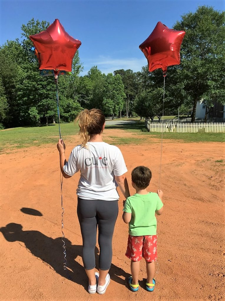 Setting off red balloons for Lake's heavenly birthday