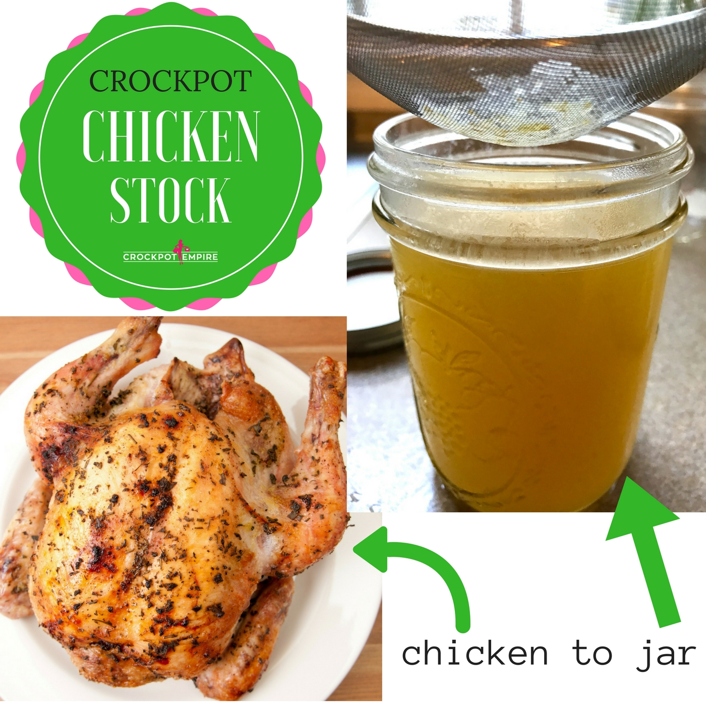 Take a chicken to a jar using a crockpot with this recipe on Crockpot Empire