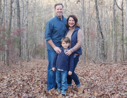 Fred, Kim and Knox Bishop Christmas Card Family Photo in Navy