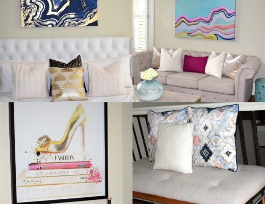 Oliver Gal Wall Art in Master, Living and Bedroom and mirrored bench with throw pillows - Crockpot Empire