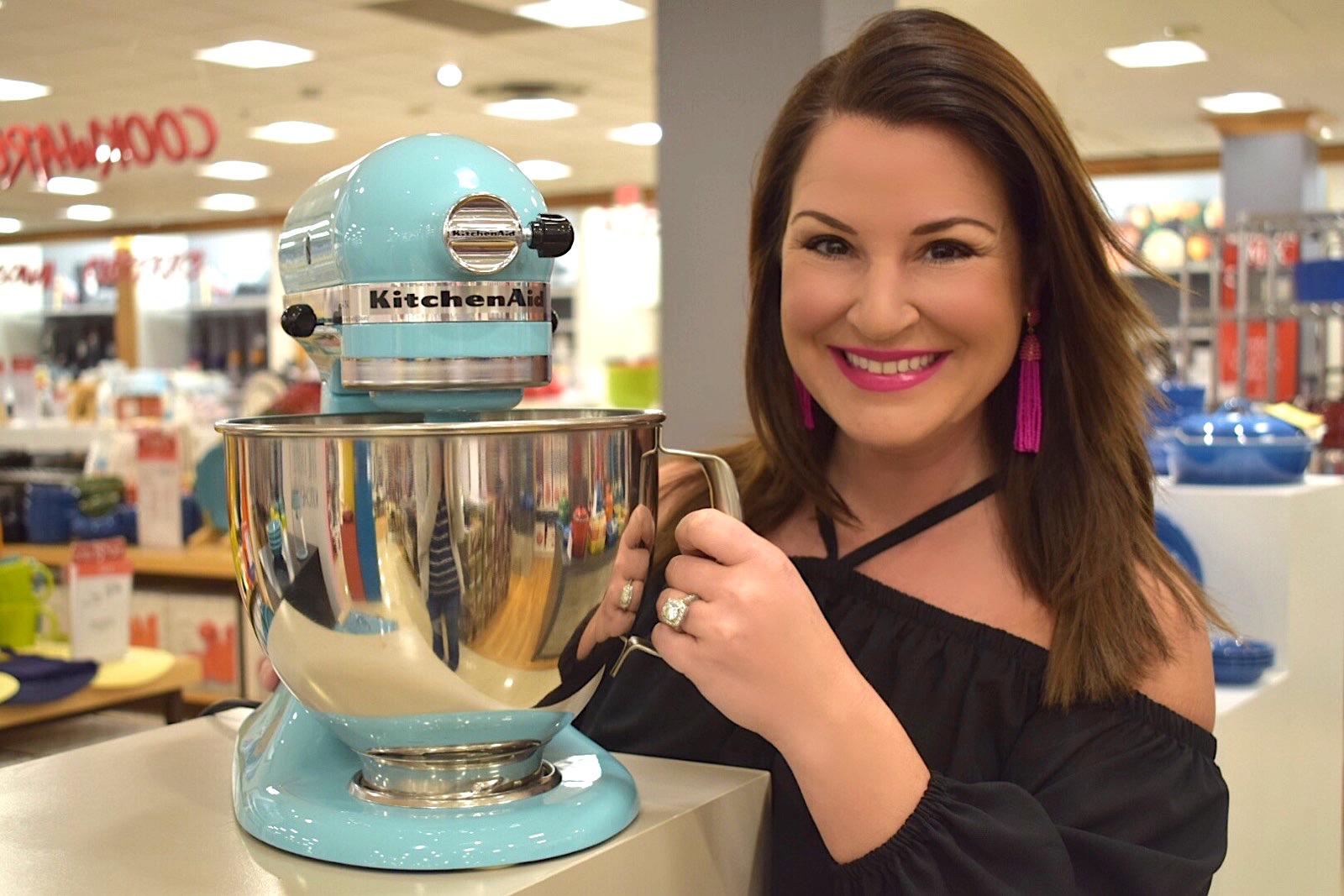 Kim Bishop with an aqua sky KitchenAid Artisan Mixer at Macys .com
