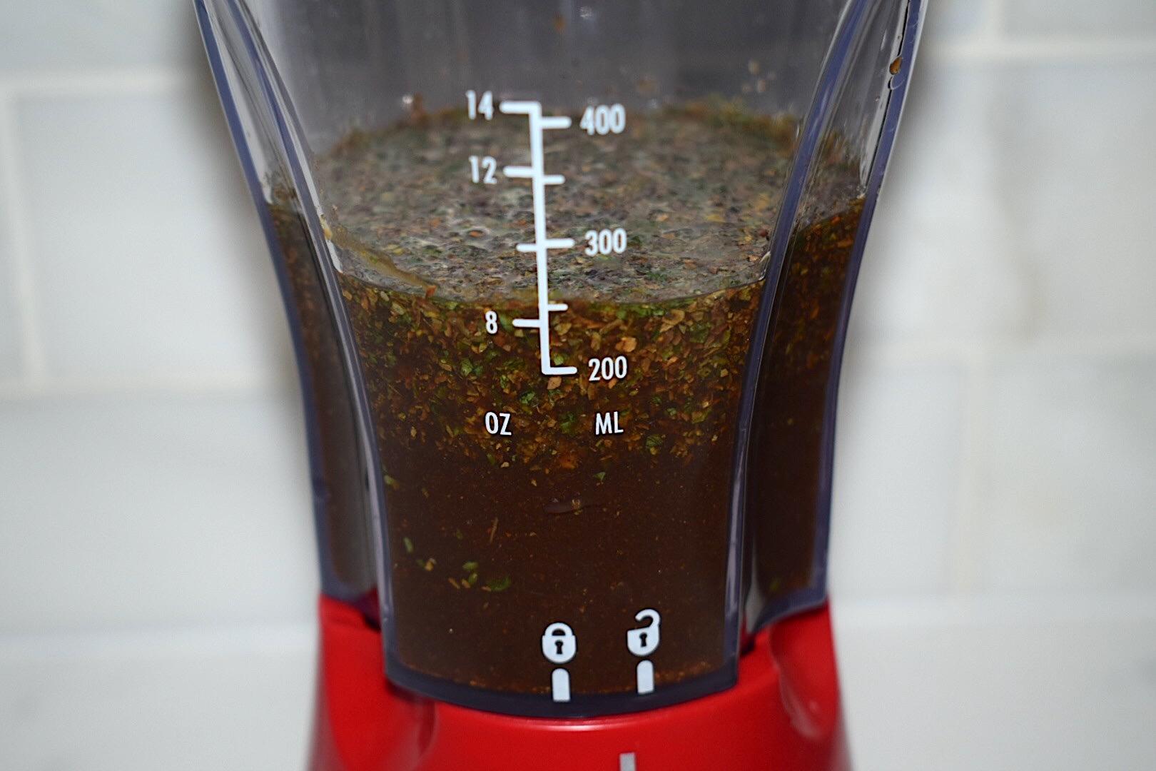 The best steak marinade ingredients in a red blender