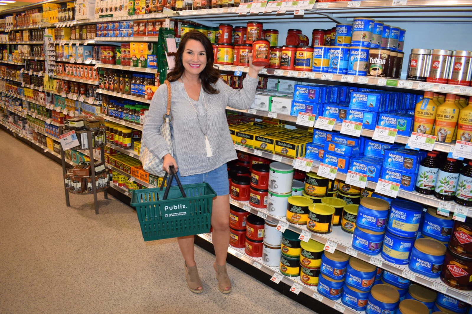 Kim Bishop getting Folgers Coffeehouse Coffee at Publix