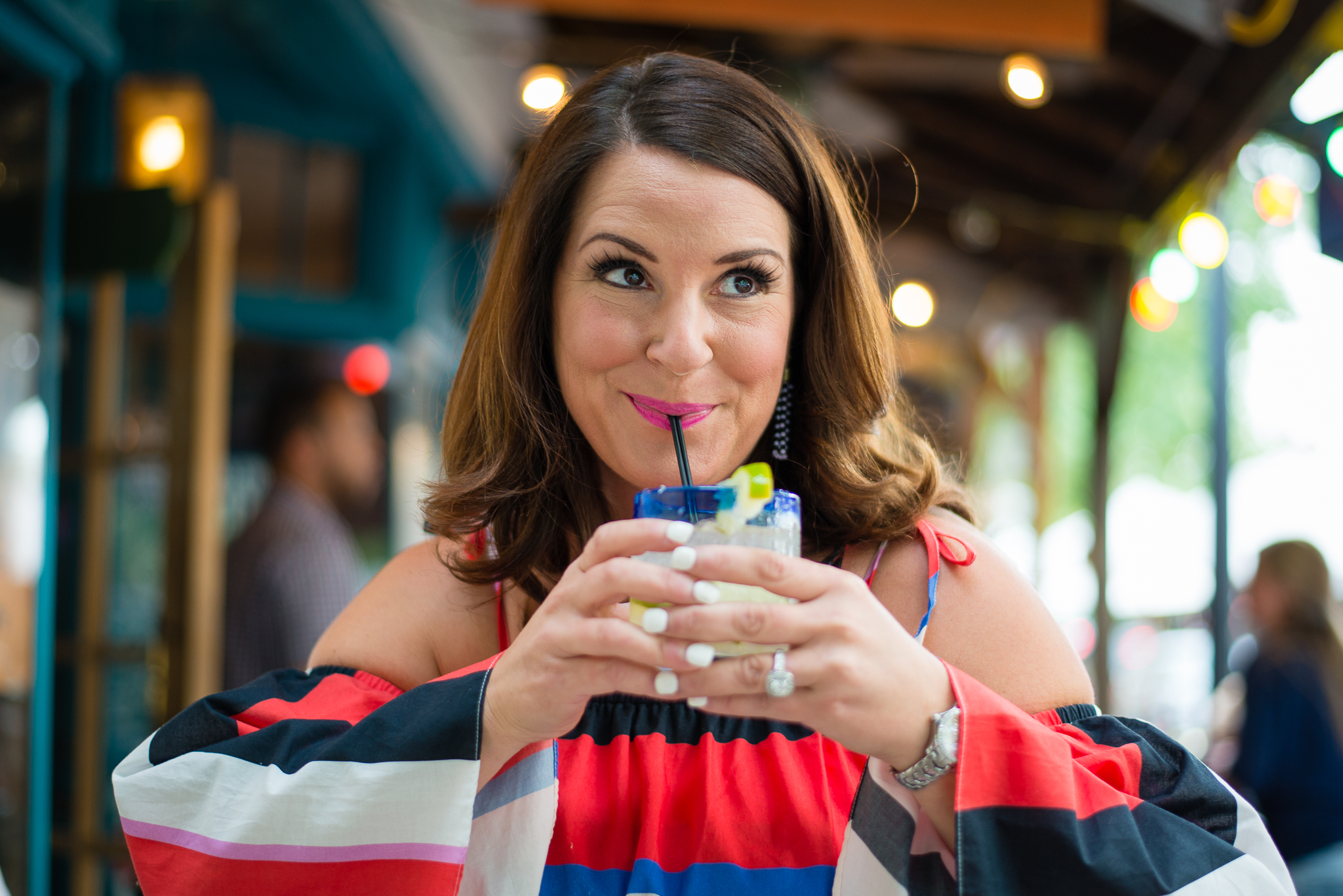 Kim Bishop drinking a Margarita Cinco de Mayo Crockpot Empire