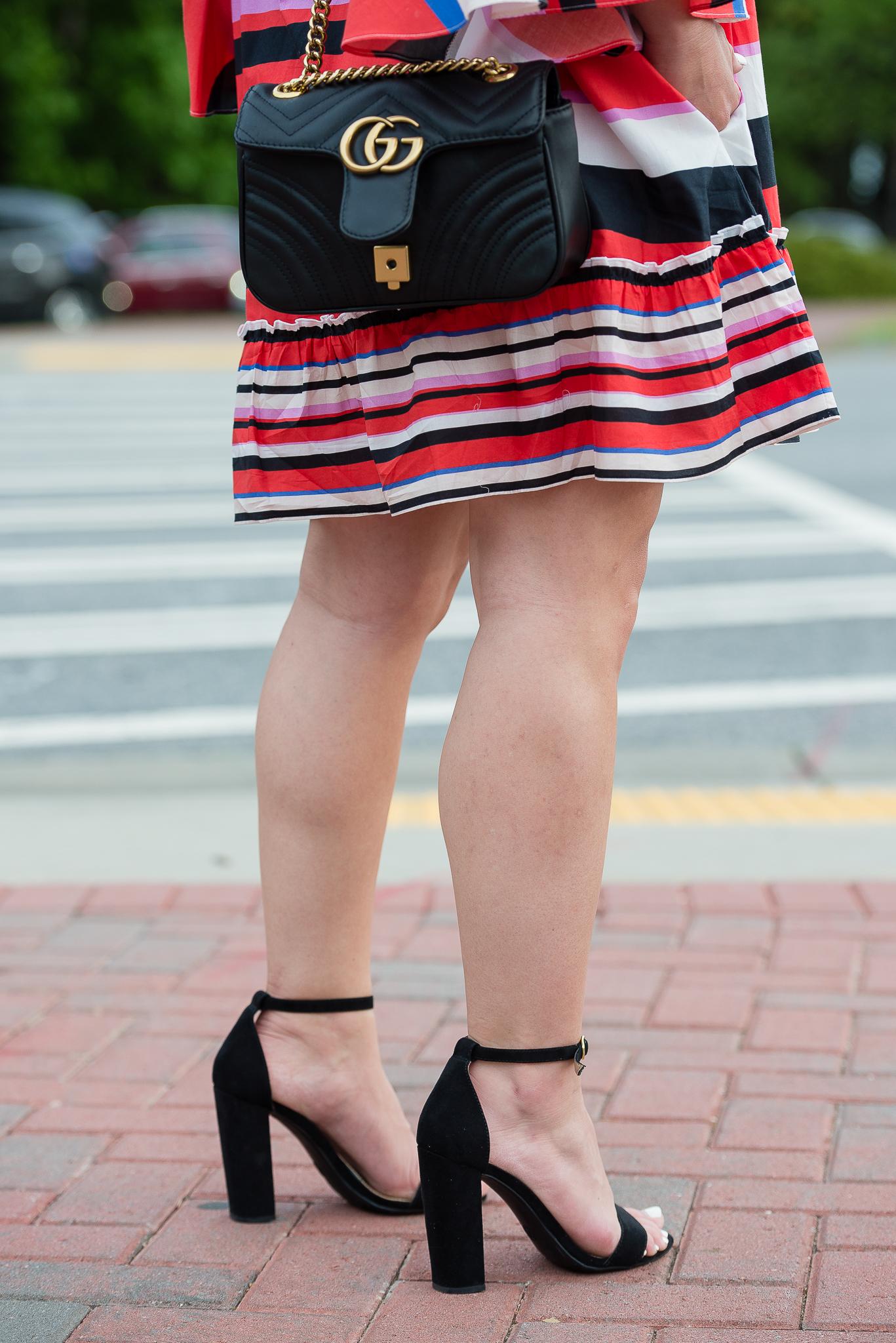 Gucci Marmont Nicholas Amalfi Stripe Cold Shoulder dress