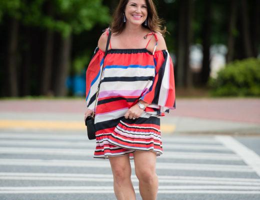 Nicholas Amalfi Stripe Cold-Shoulder dress