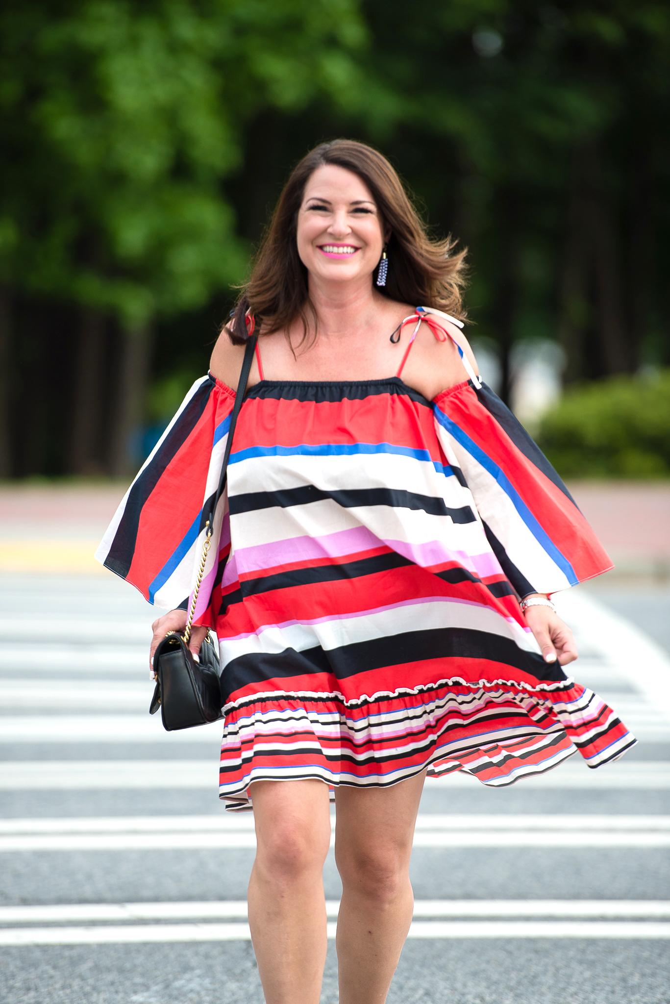 Nicholas Amalfi Stripe Cold-Shoulder dress for Cinco de Mayo